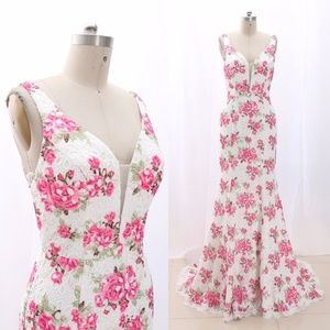 V Neck Floral Pageant Prom Gown Formal Evening